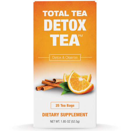 Total Tea Gentle Detox Tea & Colon Cleanse: 25 Herbal Tea Bags | Constipation Support & Weight Loss Tea | Fast Toxin Relief | Natural Appetite Suppressant | Caffeine Free | Slimming