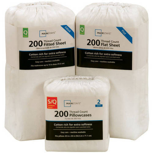 Mainstays 200 Thread Count Twin - Flat Sheet, Sheet Collection, ARCTIC -
