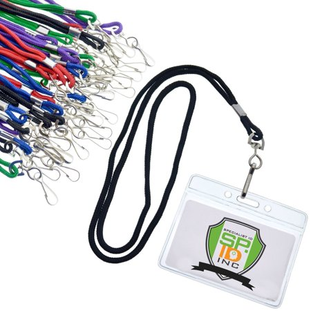 Buddy 40 Pocket Badge Holder - 25 Pack of Premium Name Tag Badge Holders with Lanyards (Horizontal) by Specialist ID (Assorted Colors)