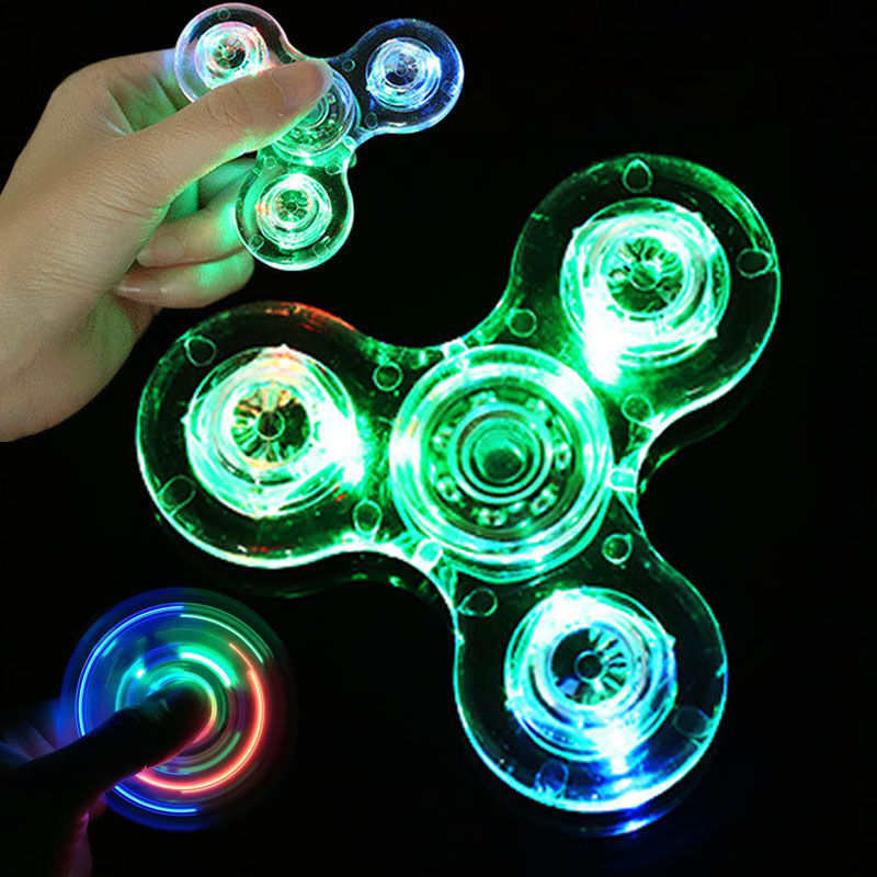 Tagital Crystal LED Light Fidget Spinner Finger Hand Tri Hand Ceramic Desk Toy Anxiety Stress Reducer For Kids Adults