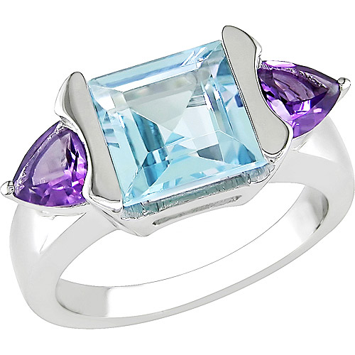 5 Carat T.G.W. Square Blue Topaz and Amethyst Ring in Sterling Silver