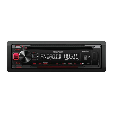 Kenwood KDC-125U Single-DIN In-Dash CD Receiver with Front USB and Auxiliary Inputs