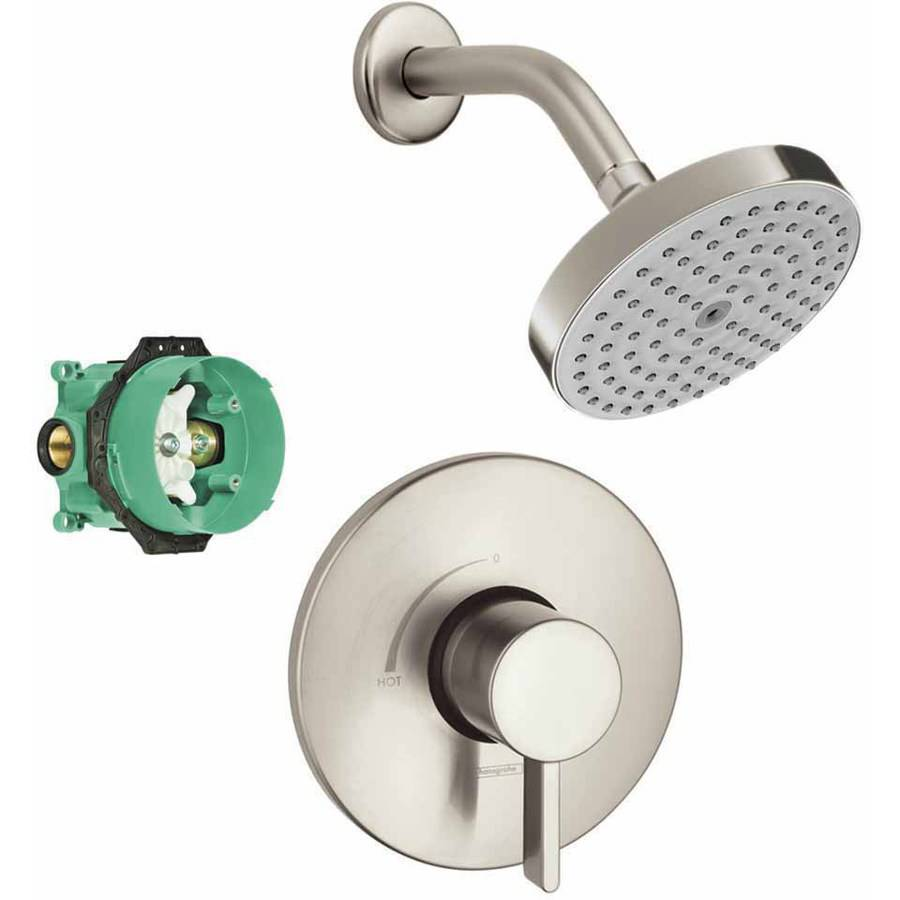 Hansgrohe KS04233-04342PC Raindance S 150 1-Jet Showerhead 2.0GPM Kit with PBV Trim and Rough-In, Various Colors