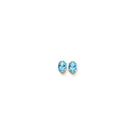 14k Yellow Gold 7x5mm Oval Blue Topaz Post Stud Ball Button Earrings Gemstone Fine Jewelry For Women Gift Set ()