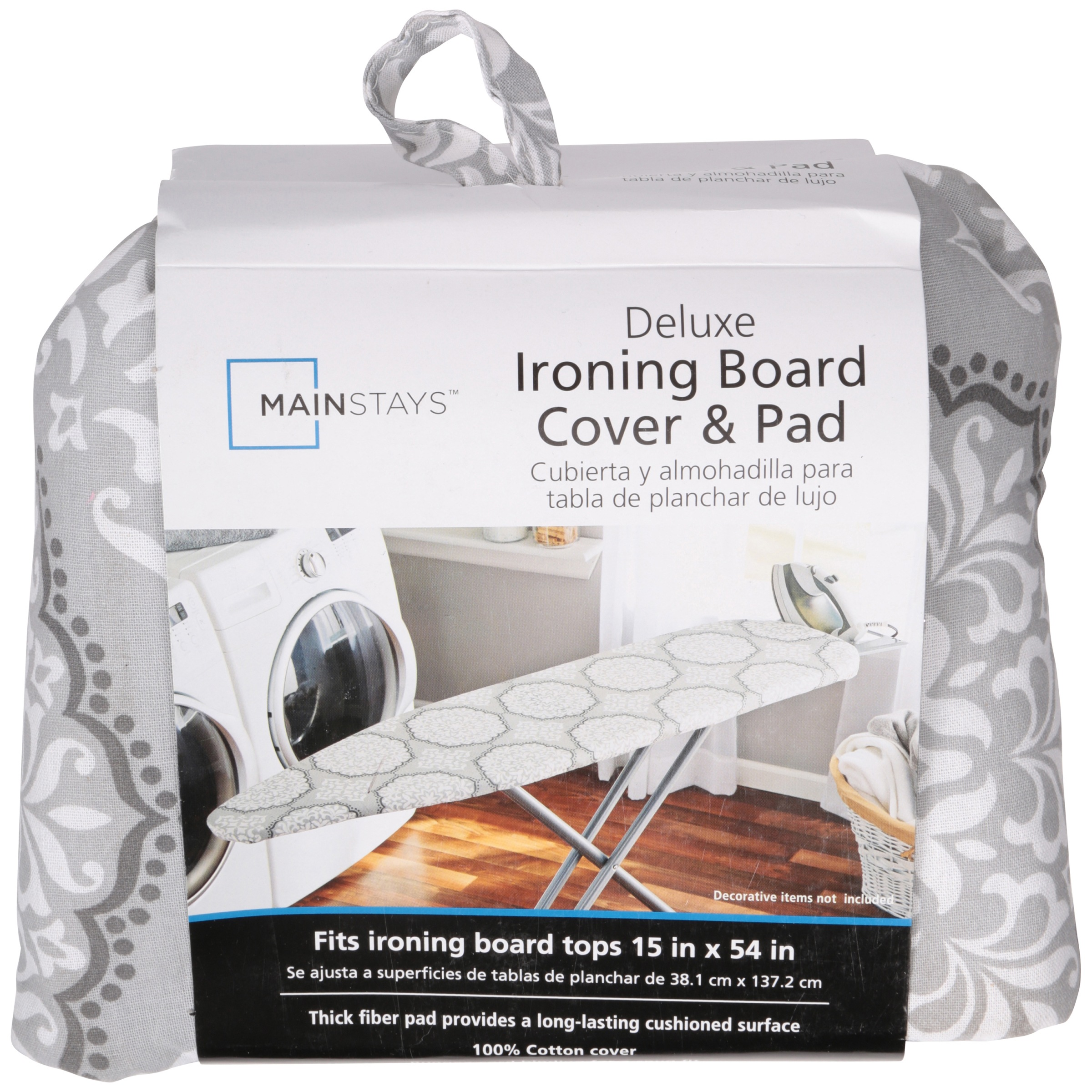 Mainstays Deluxe Gray Medallion Ironing Board Cover Pad Walmart Com Walmart Com