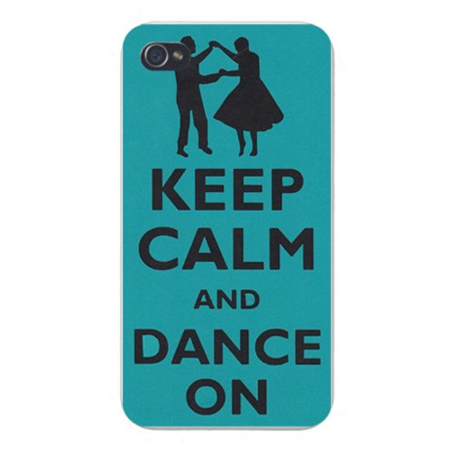 Apple Iphone Custom Case 4 4s White Plastic Snap on - Keep Calm and Dance On Couple Swing