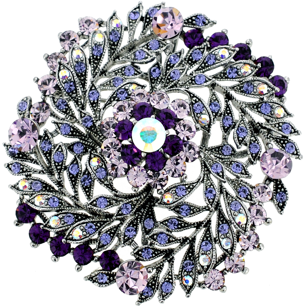 Amethyst Purple Flower Wedding Swarovski Crystal Brooch and Pendant by