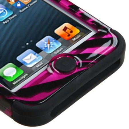 Zebra Faceplate Case (Insten Zebra Hot Pink/Black 2D/Black TUFF Hybrid Hard Premium Case For APPLE iPod touch 6th 6G 6 5th 5G 5 )