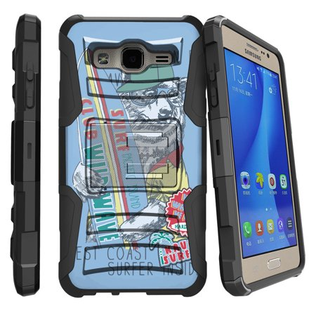 Samsung Galaxy On5 G550 Miniturtle® Clip Armor Dual Layer Case Rugged Exterior with Built in Kickstand + Holster - West Coast Surfing Bear