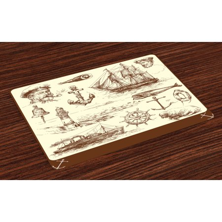 Marine Navy Captains Placemats Set of 4 Oceanic Theme Retro Style Drawing Effect Framed Nautical Collection, Washable Fabric Place Mats for Dining Room Kitchen Table Decor,Brown Cream, by Ambesonne](Nautical Table)
