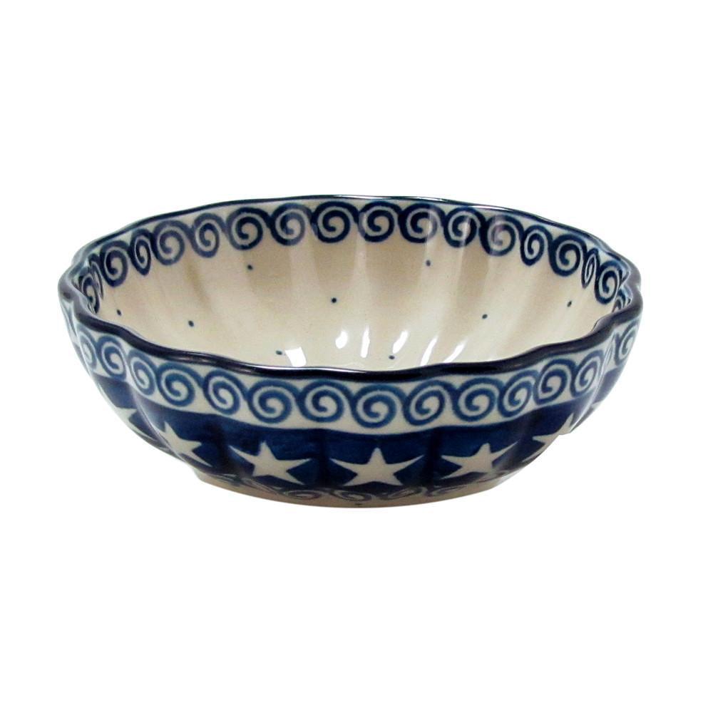 Polish Pottery 4.5'' Fluted Dessert Dish Handmade Boleslawiec StoNeware Patriot 023-ptrt by