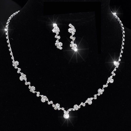 Fashion Women Necklace Earrings Set Alloy Rhinestone Wedding Bridal Lady Dangle Earring Necklaces Jewellery Accessories (1970 Jewelry Accessories)