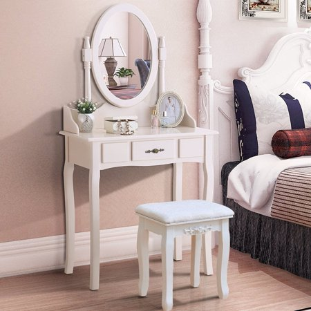 Zimtown Vanity Dressing Table Set Jewelry Makeup Desk Drawer Mirror Bedroom with Stool ()