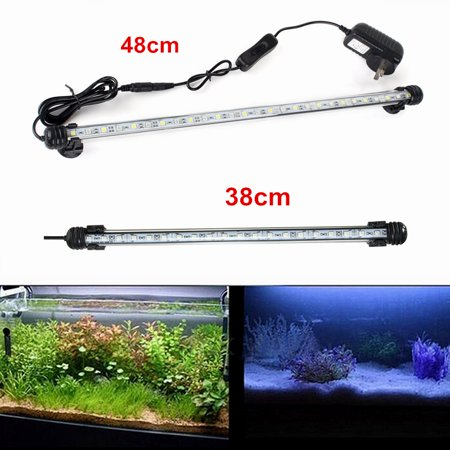 Fish Tank Light (Super Bright LED Aquarium Light, Fish Tank Submersible Light with Blue and White,38cm in Length for Tank Home Decor With 2 Sucker)