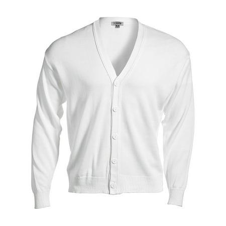 Ed Garments Men's Machine Washable V Neck Cardigan, WHITE, Large - Acrylic Sweaters