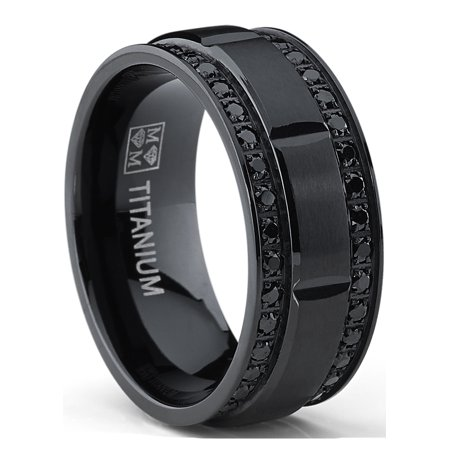 9MM Men's Black Titanium Wedding Band Ring with Double Row Black Cubic Zirconia, Comfort Fit