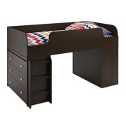 Ameriwood Home Elements Loft Bed with Dressers in Resort Cherry