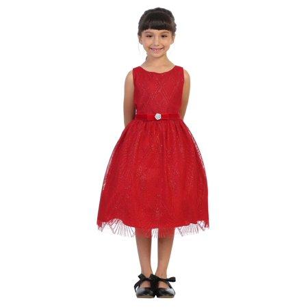 Kids Dream Plus Size Girls Red Diamond Mesh Overlay Christmas Dress