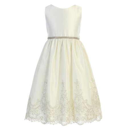 Children's Boutique Dresses (Sweet Kids Little Girls Ivory Metallic Scalloped Lace Flower Girl)