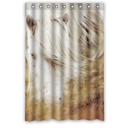 Greendecor Handsome White Horse Print Waterproof Shower Curtain Set With Hooks Bathroom