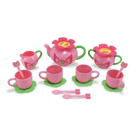 Melissa & Doug Sunny Patch Bella Butterfly Tea Set (17 pcs) - Play Food Accessories