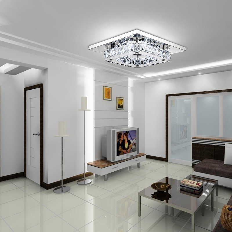 Modern Square Flush Mount Crystal Chandelier LED Ceiling Light Pendant Lamp Lighting