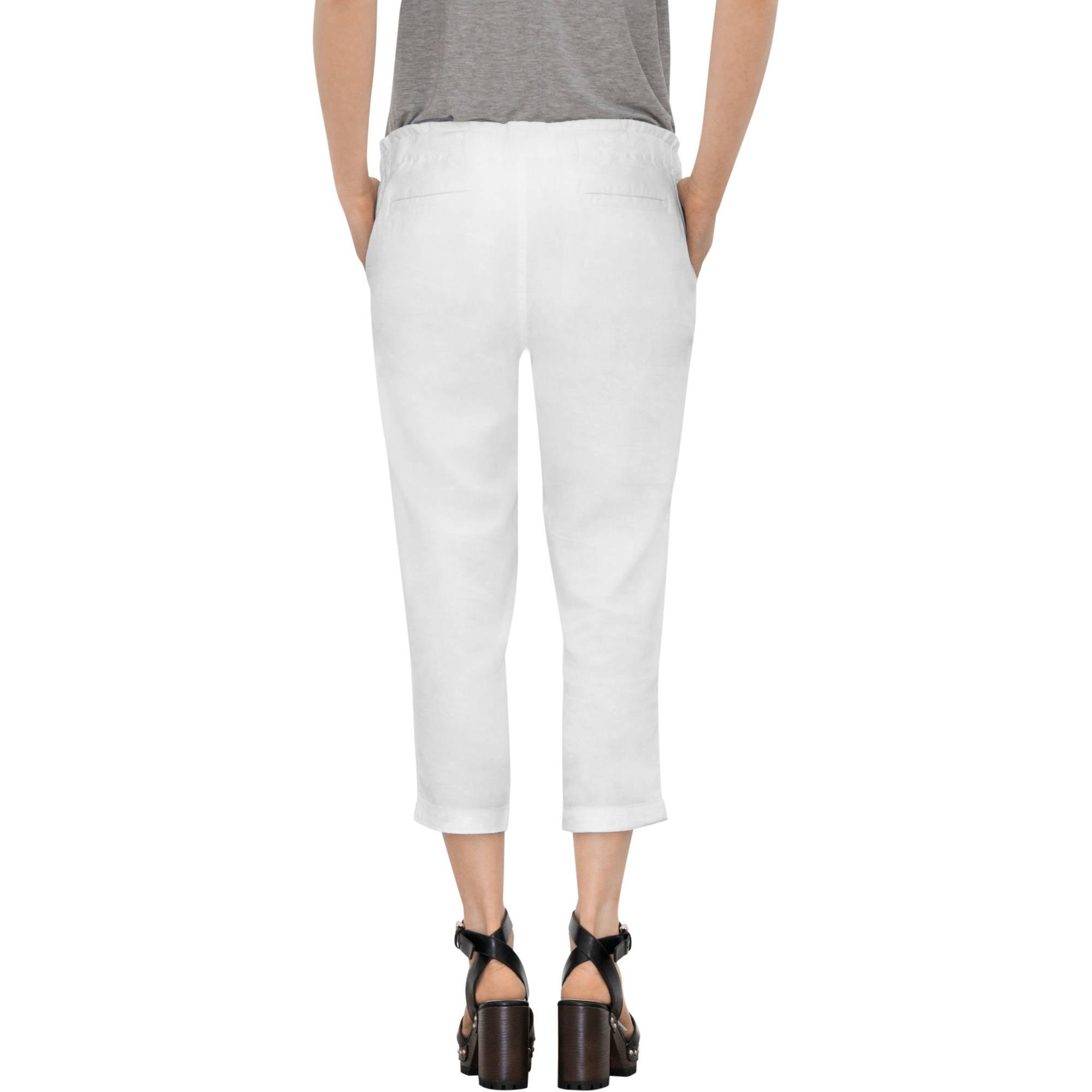 faded glory women's drawstring linen capri pants - walmart