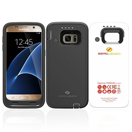 ZeroLemon Samsung Galaxy S7 7500mAh Rugged Battery Case with Soft TPU Full Edge Protection-Black(NOT FOR THE SAMSUNG GALAXY S7