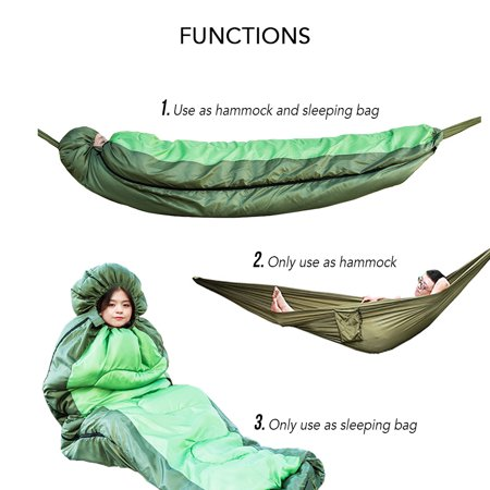 Muti-functional Detachable Hammock Sleeping Bag with Hat for Camping Travelling Hiking - image 7 of 7