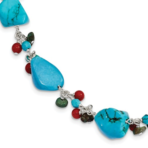 Sterling Silver 7.5in Dyed Howlite Turquoise Red Coral Bracelet by Jewelrypot
