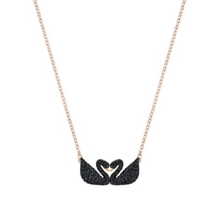 Iconic Swan Double Necklace - Black - 5296468