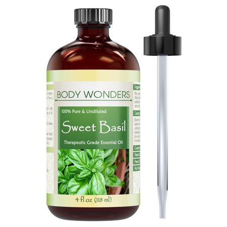 Body Wonders Sweet Basil Essential Oil - 4 Oz Bottle- 100% Pure, Undiluted Therapeutic Grade Oil -Ideal For Aromatherapy -Great Quality Great Value!