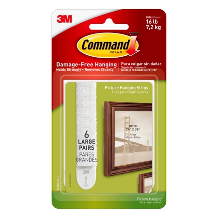 Command Picture Hanging Strips, White, Large, 6 Sets of Strips/Pack
