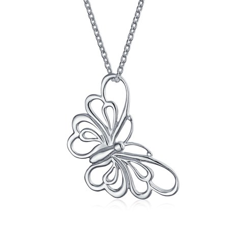 Large Plain Cut Out Open Garden Butterfly Dangling Pendant Necklace For Women For Teen 925 Sterling Silver (Butterfly Cut Out)