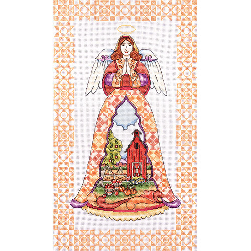 "Autumn Angel-Jim Shore Counted Cross Stitch Kit, 9"" x 15"", 14-Count"