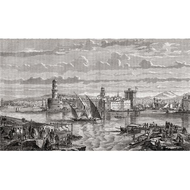 Marseilles, France During The 18th Century Engraved by Pibaraud After Lebreton From Histoire De La Revolution Francaise by Louis Blanc Poster Print, 19 x 11 - image 1 de 1