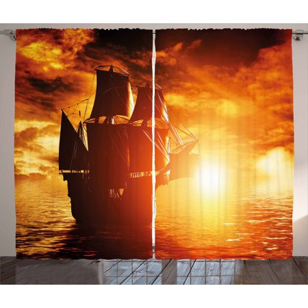 Pirate Ship Curtains 2 Panels Set, Ancient Pirate Ship Sailing on the Ocean at Sunset in Full Sail Print, Window Drapes for Living Room Bedroom, 108W X 96L Inches, Orange Yellow Black, by Ambesonne ()