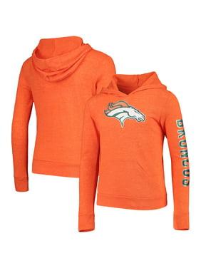 Denver Broncos New Era Girls Youth Tri-Blend Pullover Hoodie - Heathered Orange