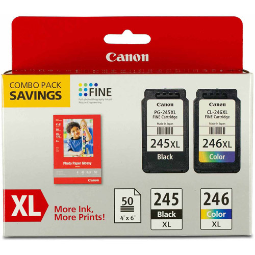 Canon PG-245XL/CL-246XL Inkjet Print Cartridges and 50 Sheets Glossy Photo Paper Combo Pack (8278B005)