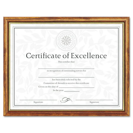 DAX Two-Tone Document/Diploma Frame, Wood, 8 1/2 x 11, Maple w/Gold Leaf Trim -DAXN17981MT](Maple Leaf Halloween)
