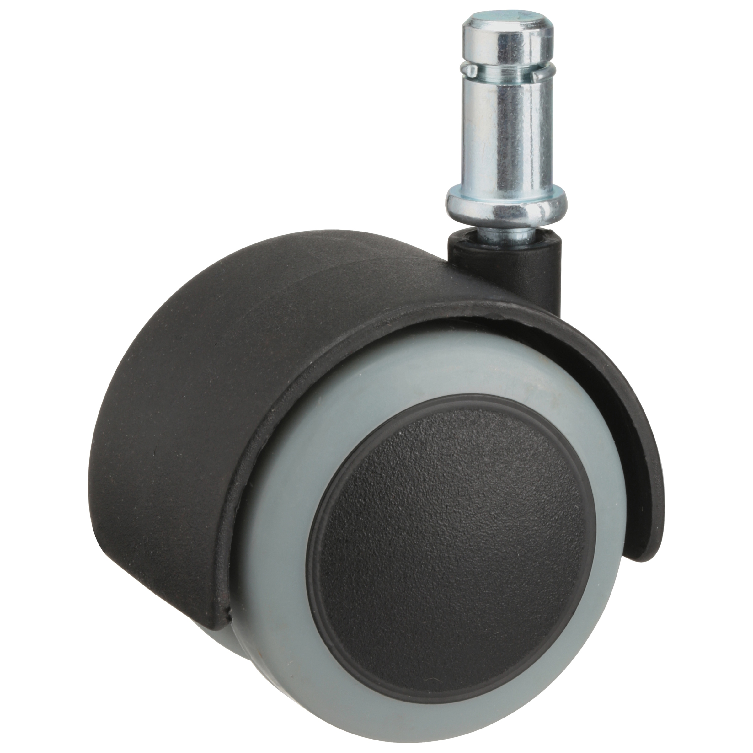 "Slipstick 2"" Floor Protecting Rubber Caster Wheels, 7/16"" Stem, Black/Grey, Set of 5"