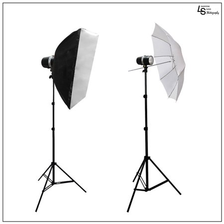 320W Dual Monolight Flash Strobe Head Light Softbox Umbrella Lighting Kit for Photography Videography by Loadstone Studio WMLS0855