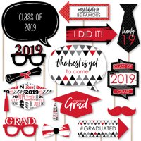 Red Grad - Best is Yet to Come - Red 2019 Graduation Party Photo Booth Props Kit - 20 Count