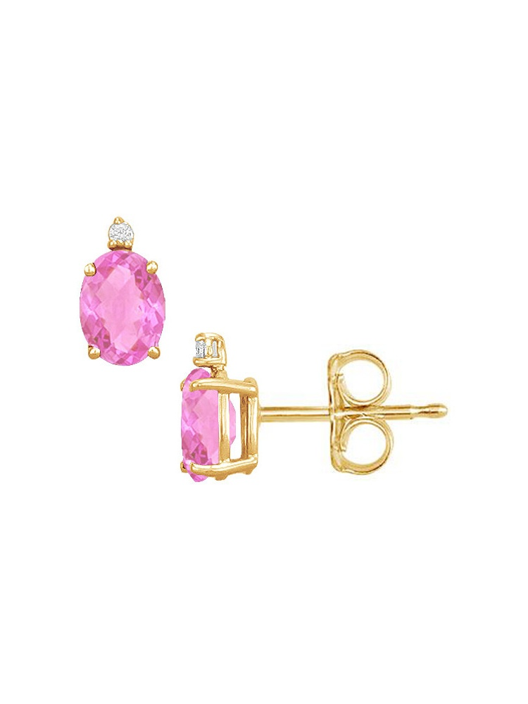 December Birthstone Oval Pink Topaz Cubic Zirconia Stud Earrings by Love Bright