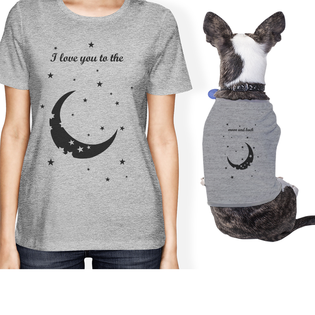 Moon And Back Small Pet Owner Matching Gift Outfits Grey Womens Top