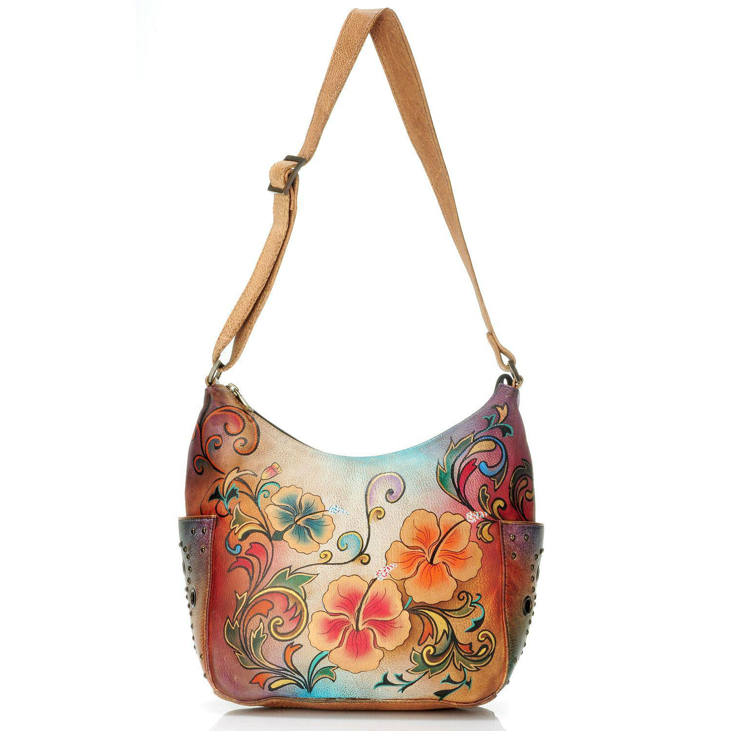 Anuschka Hobo with Side Pockets in Henna Floral