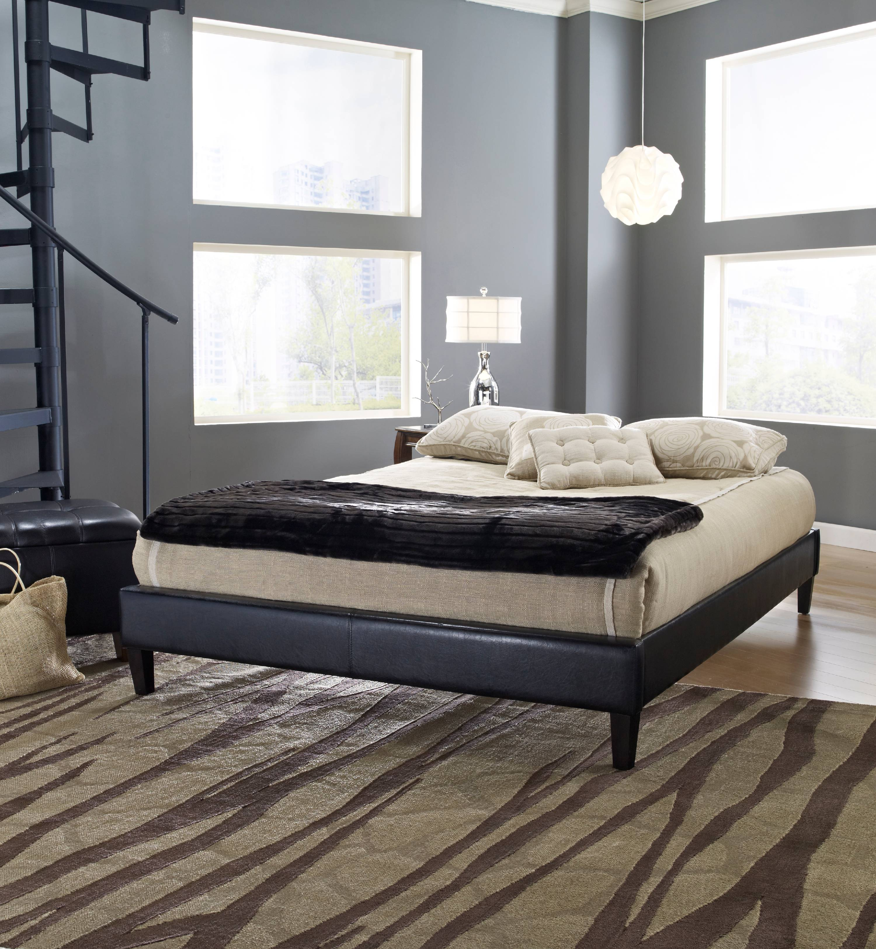Premier Elite II Upholstered Faux Leather Platform Bed Frame with Bonus Base Wooden Slat System, Multiple Colors & Sizes