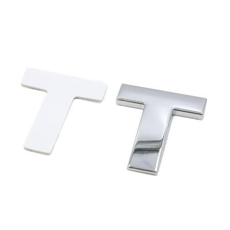 Silver Tone Metal T Letter Shaped Alphabet Sticker Emblem Badge Decals for Car