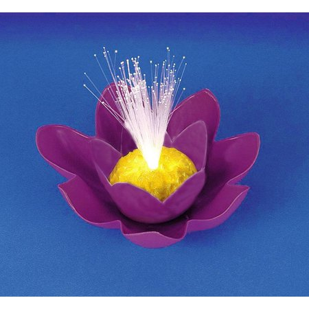 "7"" Purple Battery Operated Fiber Optic Floating Lily Flower Swimming Pool Light"