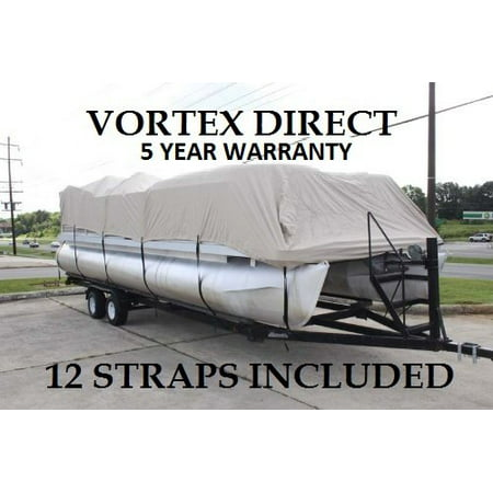 BRAND NEW *BEIGE/TAN* 22' VORTEX ULTRA 3 PONTOON BOAT COVER, HAS ELASTIC AND STRAPS FITS 20'1